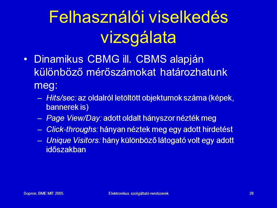 Sopron, BME MIT 2005.Elektronikus szolgáltató rendszerek28 Felhasználói viselkedés vizsgálata Dinamikus CBMG ill. CBMS alapján különböző mérőszámokat