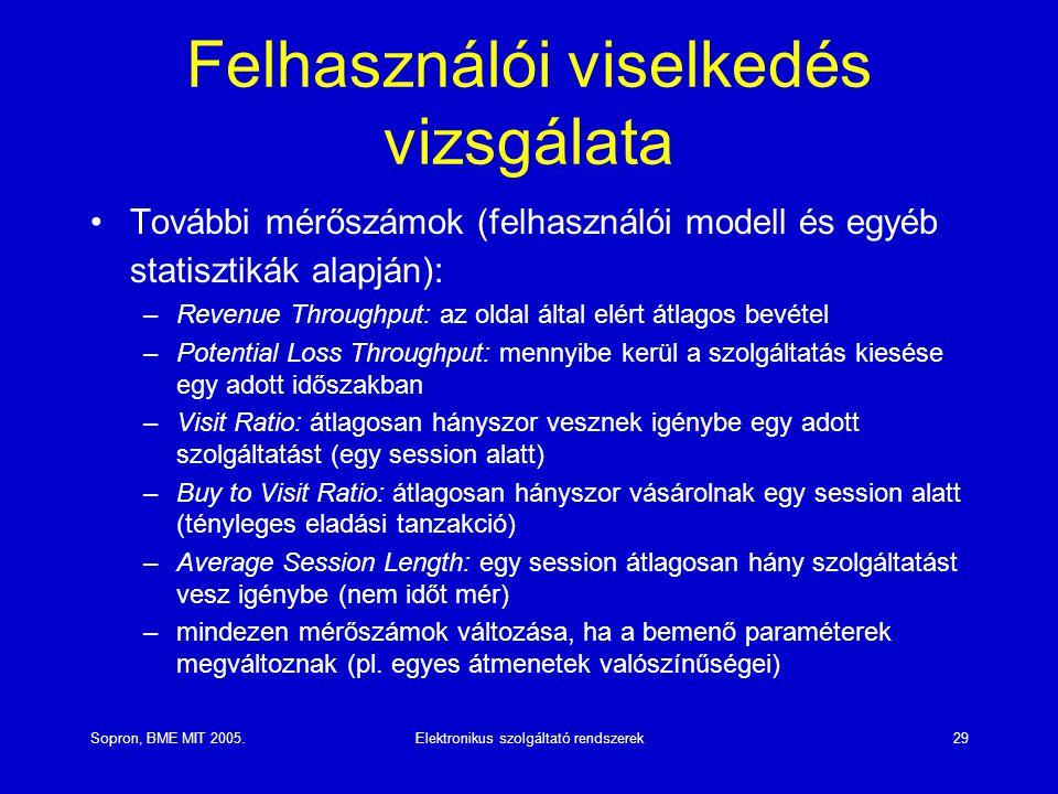 Sopron, BME MIT 2005.Elektronikus szolgáltató rendszerek29 Felhasználói viselkedés vizsgálata További mérőszámok (felhasználói modell és egyéb statisztikák alapján): –Revenue Throughput: az oldal által elért átlagos bevétel –Potential Loss Throughput: mennyibe kerül a szolgáltatás kiesése egy adott időszakban –Visit Ratio: átlagosan hányszor vesznek igénybe egy adott szolgáltatást (egy session alatt) –Buy to Visit Ratio: átlagosan hányszor vásárolnak egy session alatt (tényleges eladási tanzakció) –Average Session Length: egy session átlagosan hány szolgáltatást vesz igénybe (nem időt mér) –mindezen mérőszámok változása, ha a bemenő paraméterek megváltoznak (pl.