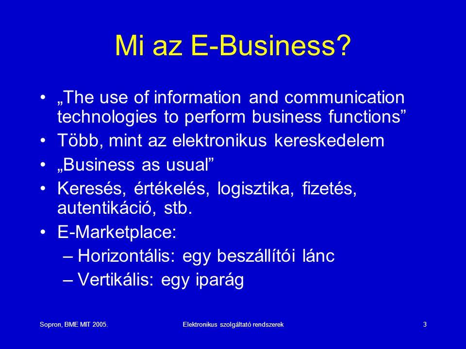 """Sopron, BME MIT 2005.Elektronikus szolgáltató rendszerek3 Mi az E-Business? """"The use of information and communication technologies to perform business"""