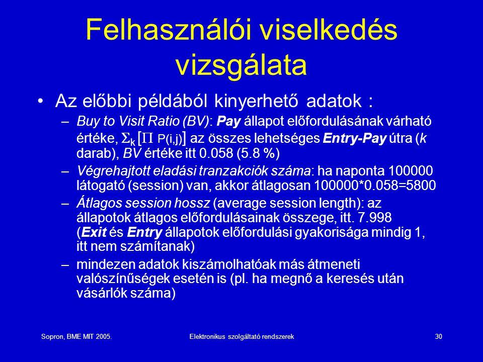 Sopron, BME MIT 2005.Elektronikus szolgáltató rendszerek30 Felhasználói viselkedés vizsgálata Az előbbi példából kinyerhető adatok : –Buy to Visit Ratio (BV): Pay állapot előfordulásának várható értéke,  k [  P(i,j) ] az összes lehetséges Entry-Pay útra (k darab), BV értéke itt 0.058 (5.8 %) –Végrehajtott eladási tranzakciók száma: ha naponta 100000 látogató (session) van, akkor átlagosan 100000*0.058=5800 –Átlagos session hossz (average session length): az állapotok átlagos előfordulásainak összege, itt.