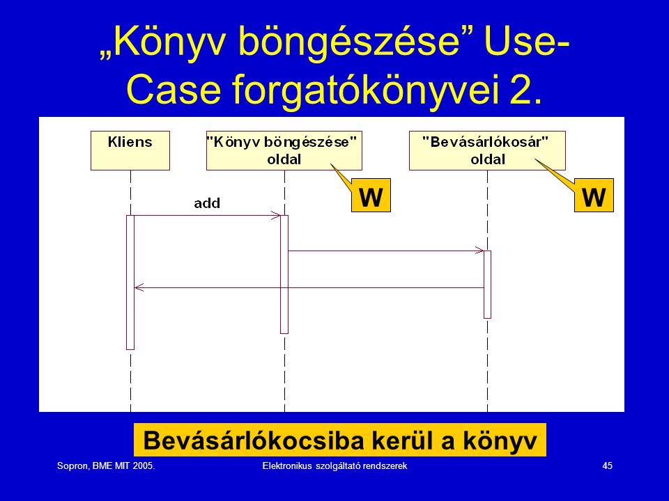 """Sopron, BME MIT 2005.Elektronikus szolgáltató rendszerek45 """"Könyv böngészése"""" Use- Case forgatókönyvei 2. Bevásárlókocsiba kerül a könyv W W"""