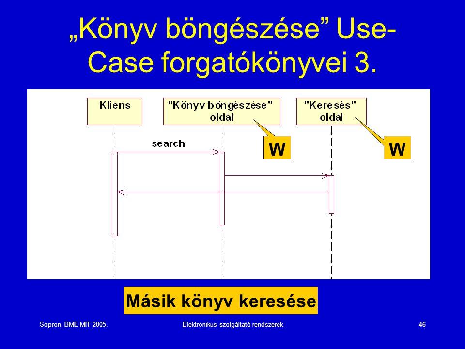 """Sopron, BME MIT 2005.Elektronikus szolgáltató rendszerek46 """"Könyv böngészése"""" Use- Case forgatókönyvei 3. Másik könyv keresése W W"""