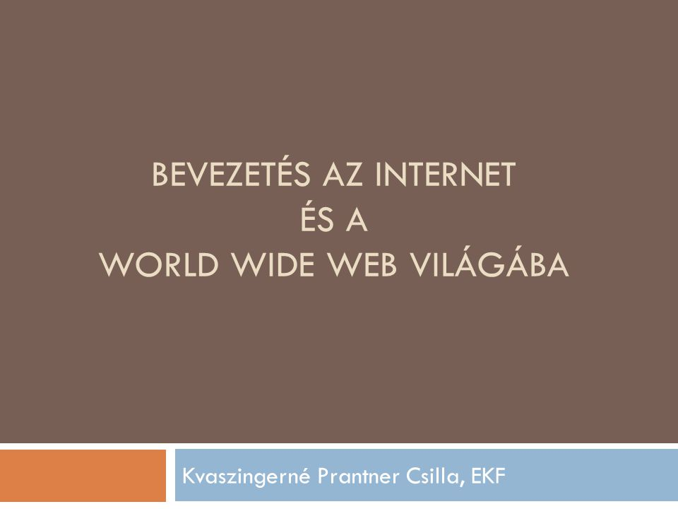 BEVEZETÉS AZ INTERNET ÉS A WORLD WIDE WEB VILÁGÁBA Kvaszingerné Prantner Csilla, EKF