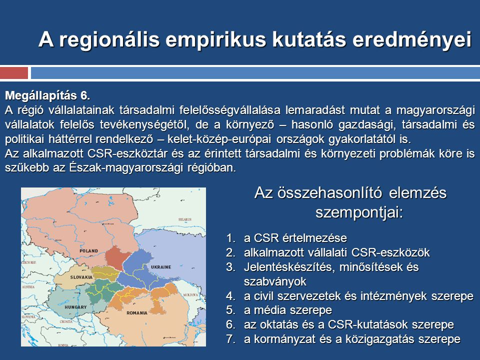 A regionális empirikus kutatás eredményei Megállapítás 6.