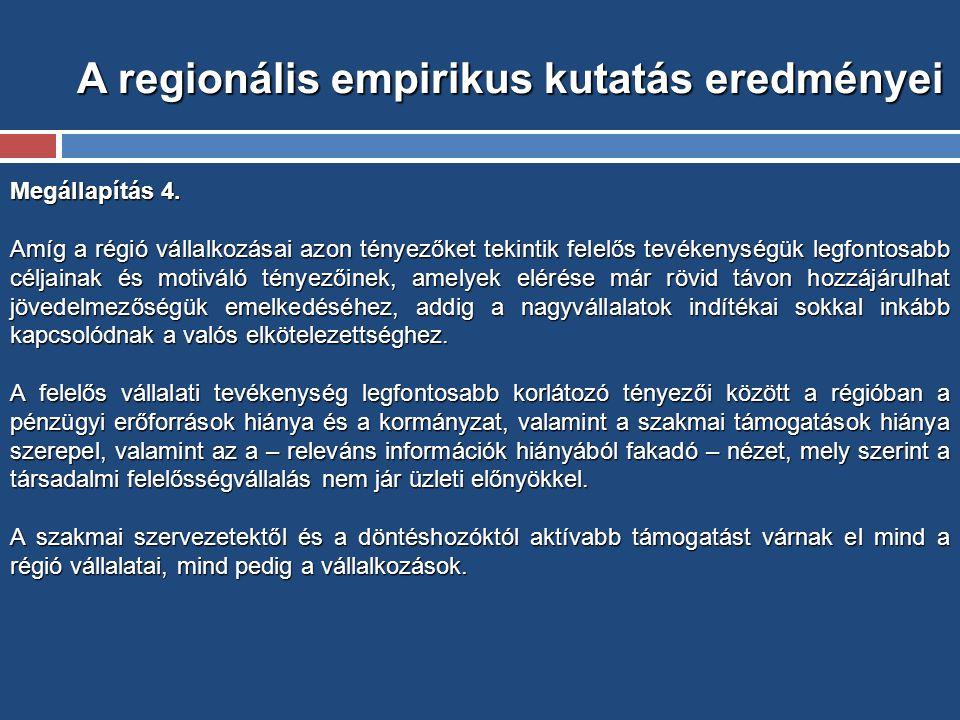 A regionális empirikus kutatás eredményei Megállapítás 4.