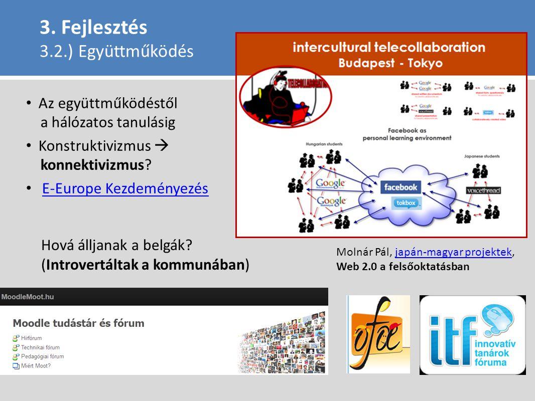 3. Fejlesztés 3.2.) Együttműködés Az együttműködéstől a hálózatos tanulásig Konstruktivizmus  konnektivizmus? E-Europe Kezdeményezés Molnár Pál, japá