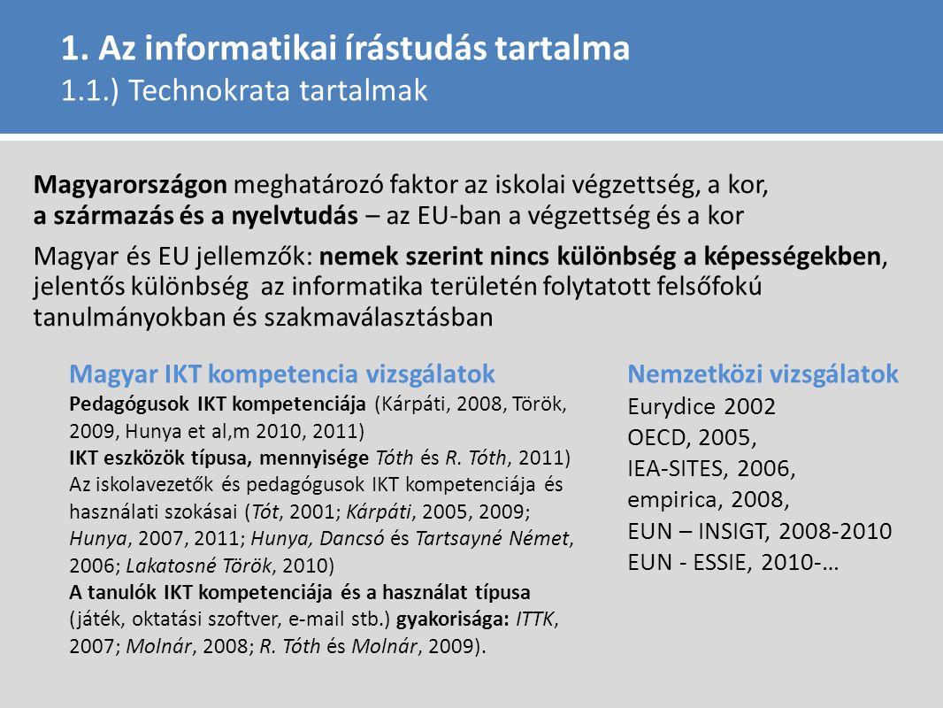 1. Az informatikai írástudás tartalma 1.1.) Technokrata tartalmak Magyarországon meghatározó faktor az iskolai végzettség, a kor, a származás és a nye