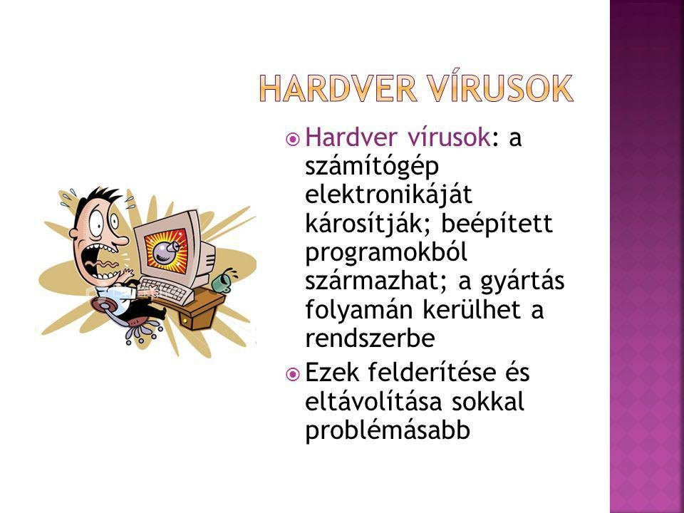  Hardver vírusok: a számítógép elektronikáját károsítják; beépített programokból származhat; a gyártás folyamán kerülhet a rendszerbe  Ezek felderítése és eltávolítása sokkal problémásabb