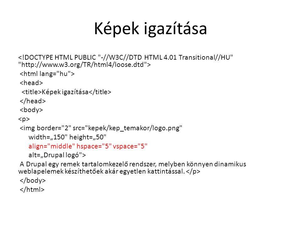 """Képek igazítása Képek igazítása <img border= 2 src= kepek/kep_temakor/logo.png width=""""150 height=""""50 align= middle hspace= 5 vspace= 5 alt=""""Drupal logó > A Drupal egy remek tartalomkezelő rendszer, melyben könnyen dinamikus weblapelemek készíthetőek akár egyetlen kattintással."""