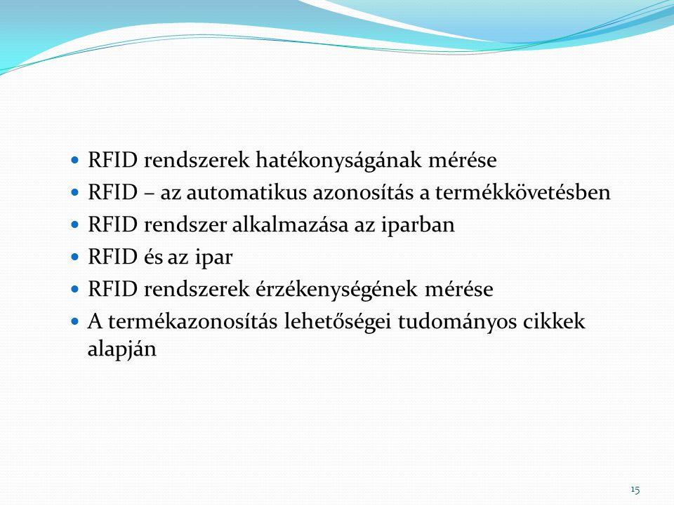 RFID rendszerek hatékonyságának mérése RFID – az automatikus azonosítás a termékkövetésben RFID rendszer alkalmazása az iparban RFID és az ipar RFID r