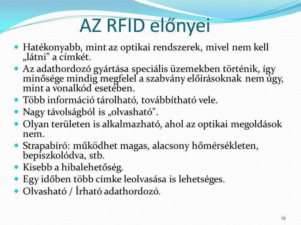 """AZ RFID előnyei Hatékonyabb, mint az optikai rendszerek, mivel nem kell """"látni"""