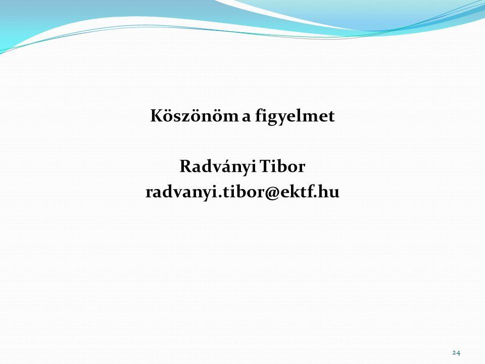 Köszönöm a figyelmet Radványi Tibor radvanyi.tibor@ektf.hu 24