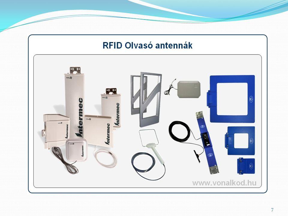 RFID-író/olvasó RO-Read only olvasók (csak olvasásra képesek) Írásra és olvasásra is képes olvasók Általánosan elterjedt olvasók logisztikai és kereskedelmi alkalmazásokban.