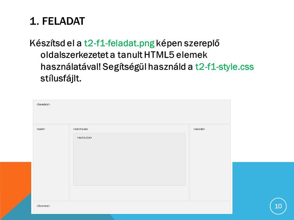 1. FELADAT Készítsd el a t2-f1-feladat.png képen szereplő oldalszerkezetet a tanult HTML5 elemek használatával! Segítségül használd a t2-f1-style.css