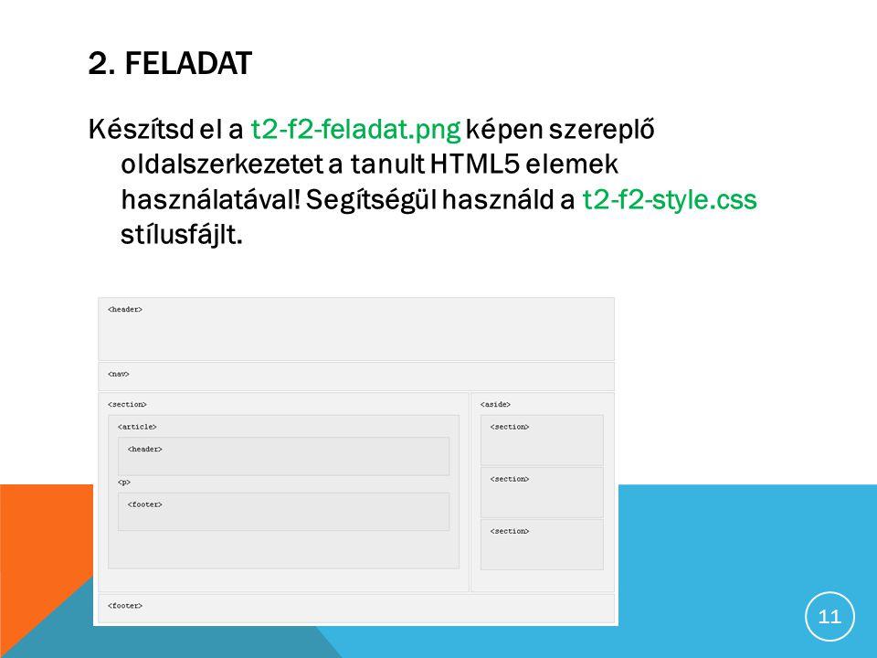 2. FELADAT Készítsd el a t2-f2-feladat.png képen szereplő oldalszerkezetet a tanult HTML5 elemek használatával! Segítségül használd a t2-f2-style.css