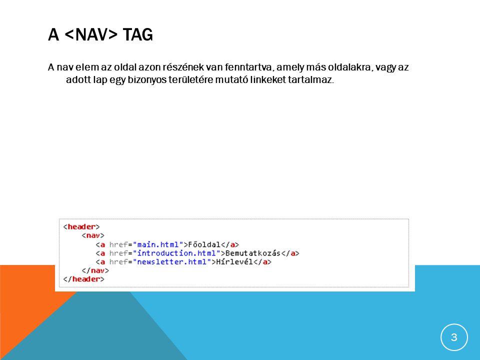 A TAG A nav elem az oldal azon részének van fenntartva, amely más oldalakra, vagy az adott lap egy bizonyos területére mutató linkeket tartalmaz.