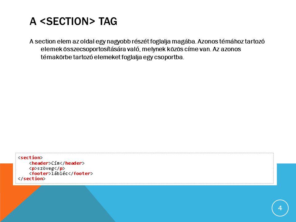 A TAG A section elem az oldal egy nagyobb részét foglalja magába.
