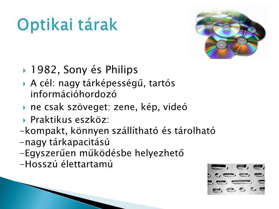 1982, Sony és Philips  A cél: nagy tárképességű, tartós információhordozó  ne csak szöveget: zene, kép, videó  Praktikus eszköz: -kompakt, könnyen szállítható és tárolható -nagy tárkapacitású -Egyszerűen működésbe helyezhető -Hosszú élettartamú
