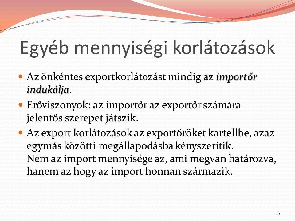 Egyéb mennyiségi korlátozások importőr indukálja Az önkéntes exportkorlátozást mindig az importőr indukálja. Erőviszonyok: az importőr az exportőr szá