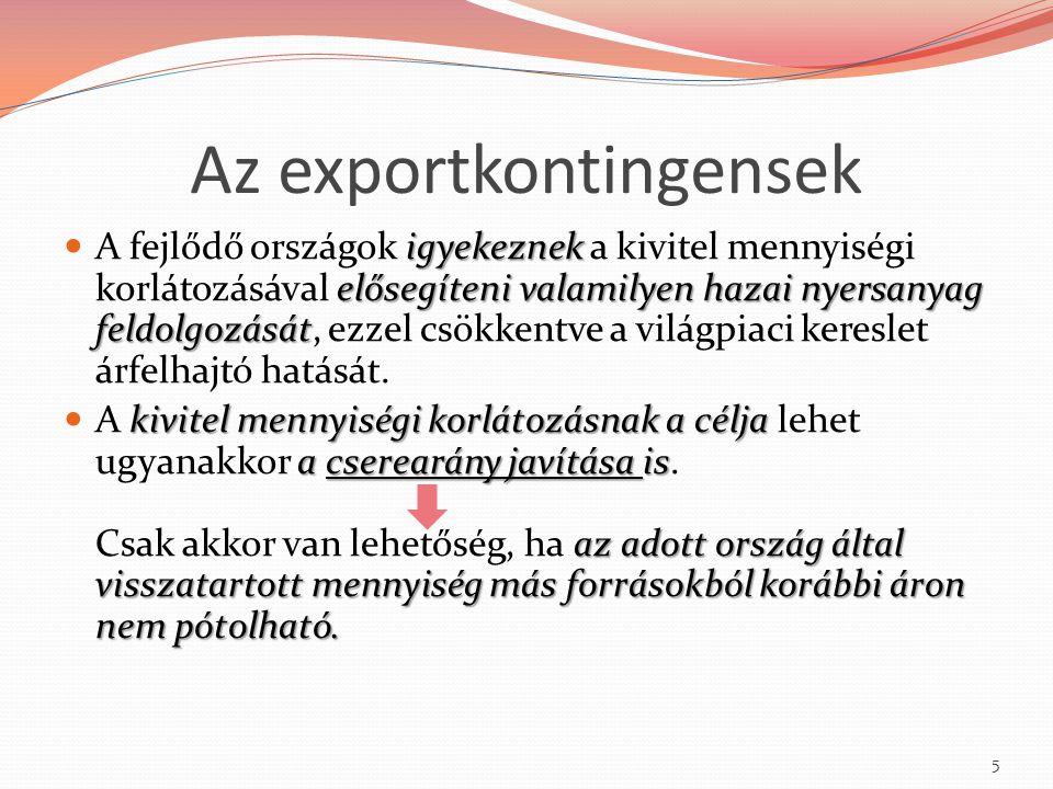 Az exportkontingensek igyekeznek elősegíteni valamilyen hazai nyersanyag feldolgozását A fejlődő országok igyekeznek a kivitel mennyiségi korlátozásáv