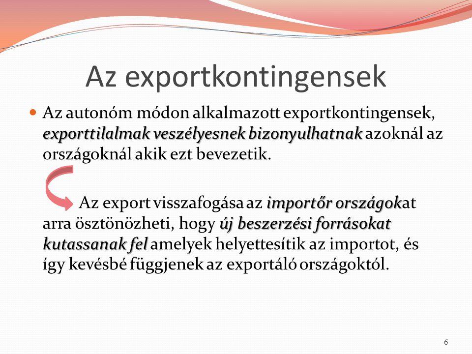 Az exportkontingensek exporttilalmak veszélyesnek bizonyulhatnak Az autonóm módon alkalmazott exportkontingensek, exporttilalmak veszélyesnek bizonyul