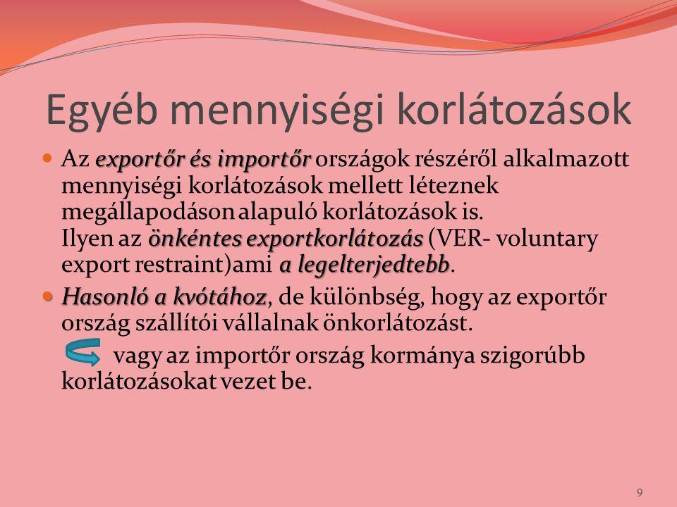 Egyéb mennyiségi korlátozások exportőr és importőr önkéntes exportkorlátozás a legelterjedtebb Az exportőr és importőr országok részéről alkalmazott m