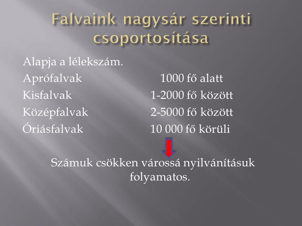 Alapja a lélekszám. Aprófalvak 1000 fő alatt Kisfalvak 1-2000 fő között Középfalvak 2-5000 fő között Óriásfalvak10 000 fő körüli Számuk csökken váross
