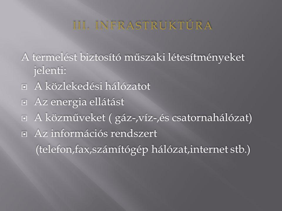 III. INFRASTRUKTÚRA A termelést biztosító műszaki létesítményeket jelenti:  A közlekedési hálózatot  Az energia ellátást  A közműveket ( gáz-,víz-,