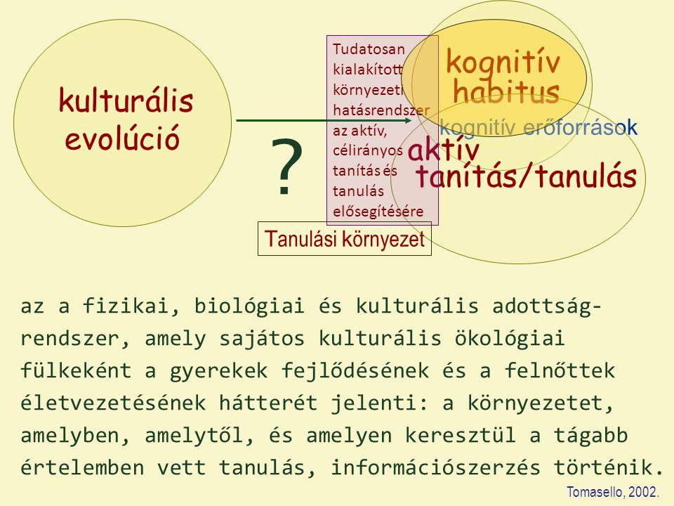 kulturális evolúció kognitív habitus kognitív erőforrások az a fizikai, biológiai és kulturális adottság- rendszer, amely sajátos kulturális ökológiai