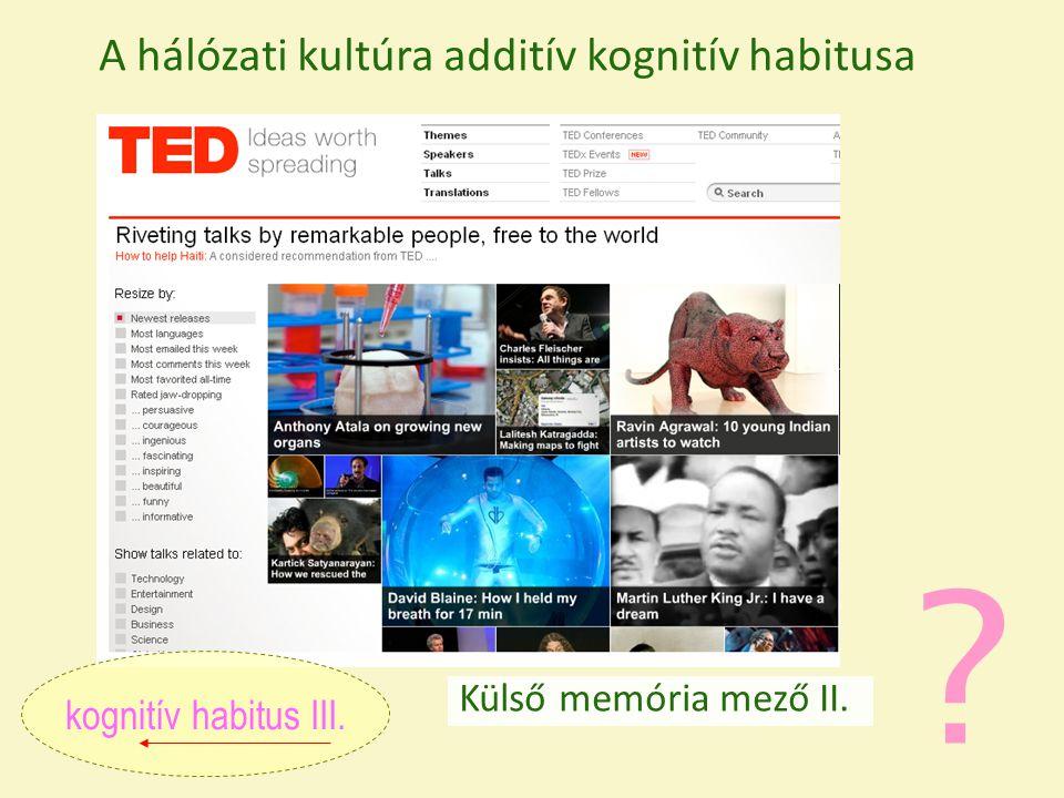 ? Külső memória mező II. kognitív habitus III. A hálózati kultúra additív kognitív habitusa