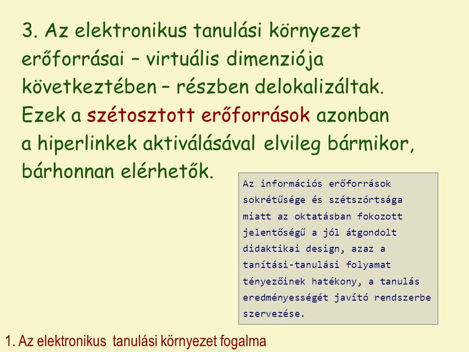 1. Az elektronikus tanulási környezet fogalma 3. Az elektronikus tanulási környezet erőforrásai – virtuális dimenziója következtében – részben delokal