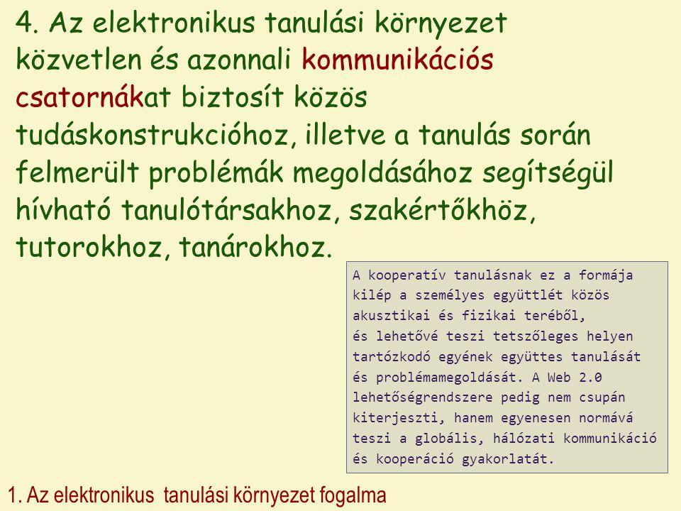 1. Az elektronikus tanulási környezet fogalma 4. Az elektronikus tanulási környezet közvetlen és azonnali kommunikációs csatornákat biztosít közös tud