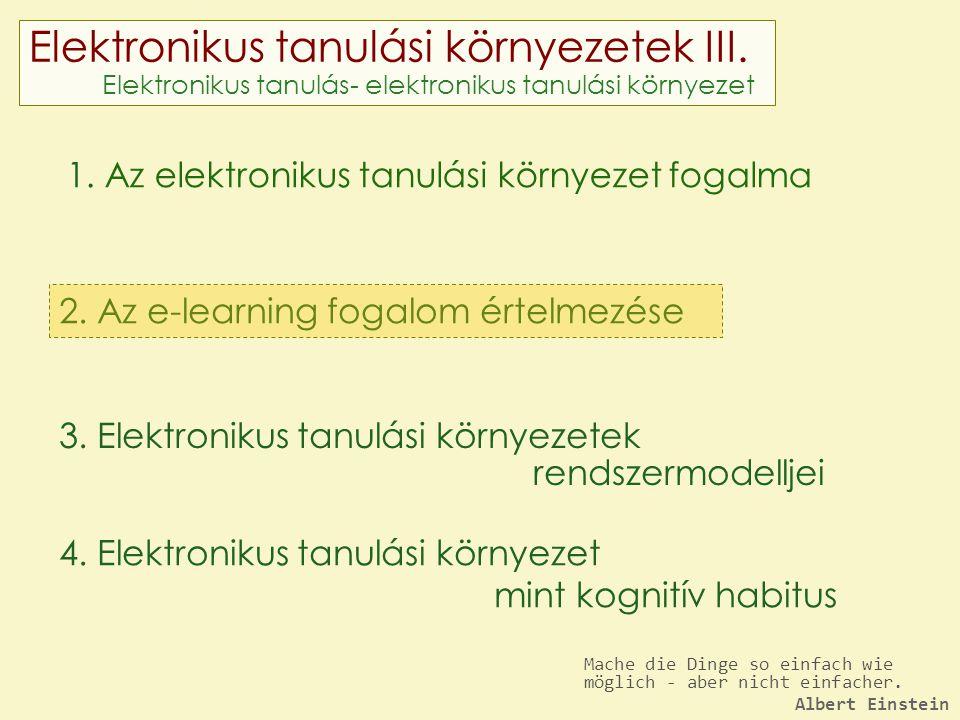 Elektronikus tanulási környezetek III. Elektronikus tanulás- elektronikus tanulási környezet 1. Az elektronikus tanulási környezet fogalma 2. Az e-lea