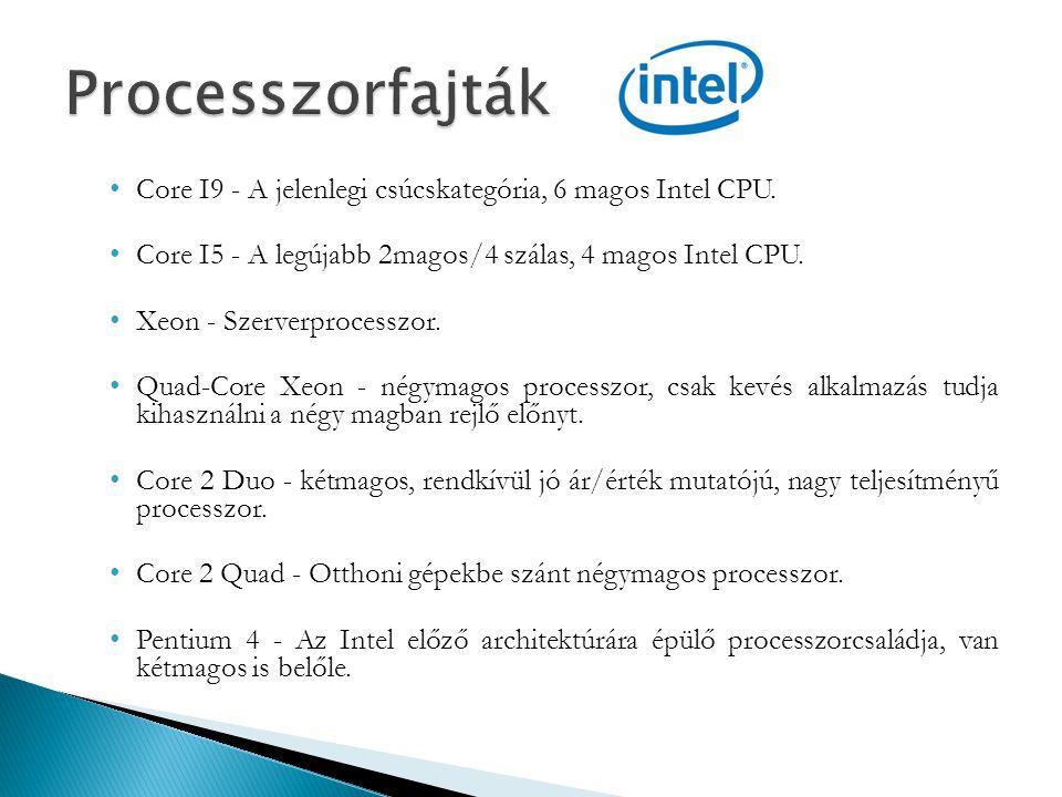 Core I9 - A jelenlegi csúcskategória, 6 magos Intel CPU. Core I5 - A legújabb 2magos/4 szálas, 4 magos Intel CPU. Xeon - Szerverprocesszor. Quad-Core