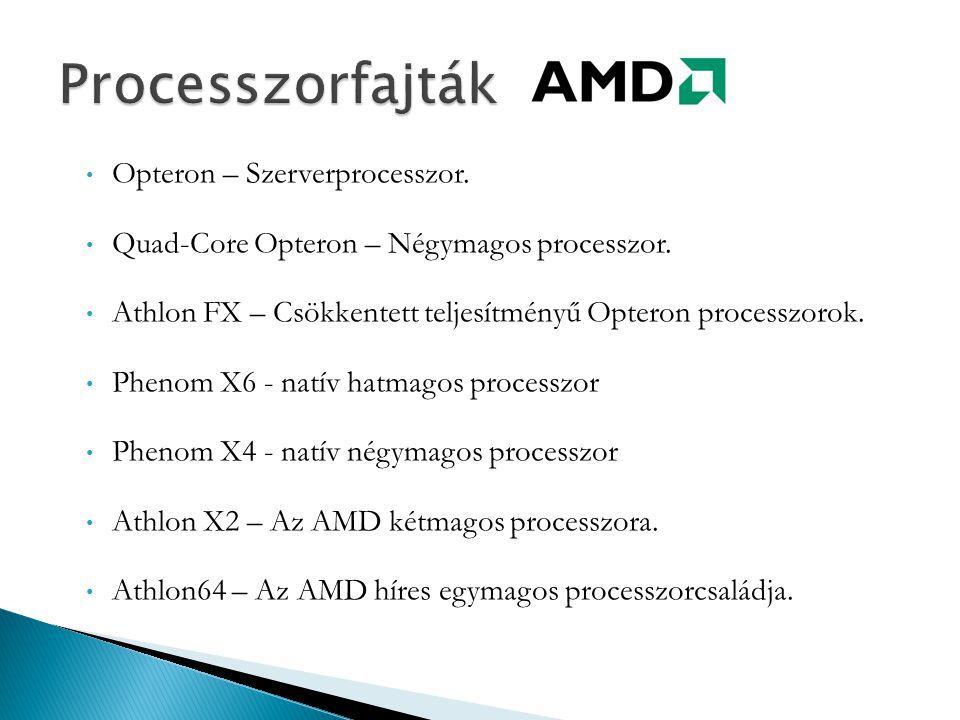 Opteron – Szerverprocesszor. Quad-Core Opteron – Négymagos processzor. Athlon FX – Csökkentett teljesítményű Opteron processzorok. Phenom X6 - natív h