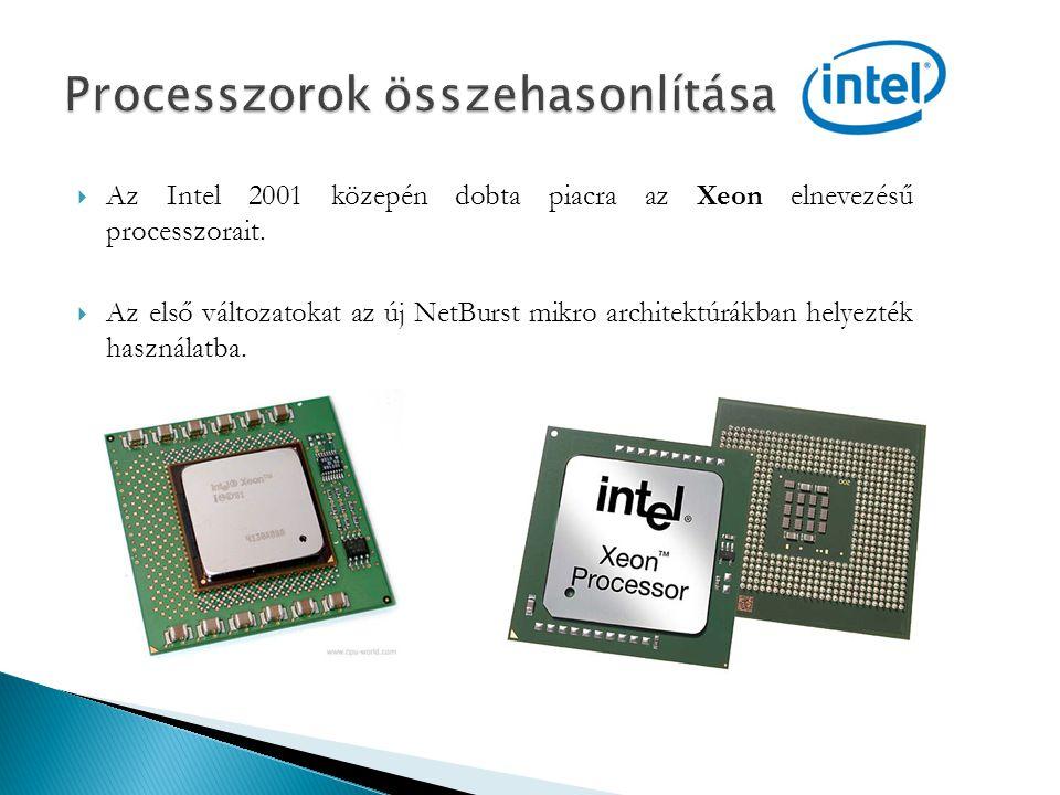  Az Intel 2001 közepén dobta piacra az Xeon elnevezésű processzorait.  Az első változatokat az új NetBurst mikro architektúrákban helyezték használa