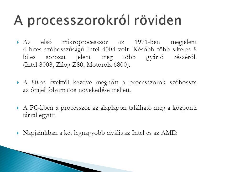  Az első mikroprocesszor az 1971-ben megjelent 4 bites szóhosszúságú Intel 4004 volt. Később több sikeres 8 bites sorozat jelent meg több gyártó rész