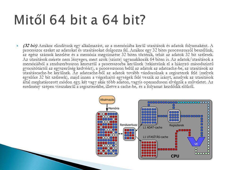  (32 bit) Amikor elindítunk egy alkalmazást, az a memóriába kerül utasítások és adatok folyamaként. A processzor ezeket az adatokat és utasításokat d