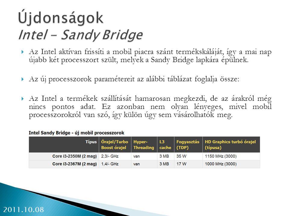  Az Intel aktívan frissíti a mobil piacra szánt termékskáláját, így a mai nap újabb két processzort szült, melyek a Sandy Bridge lapkára épülnek.  A
