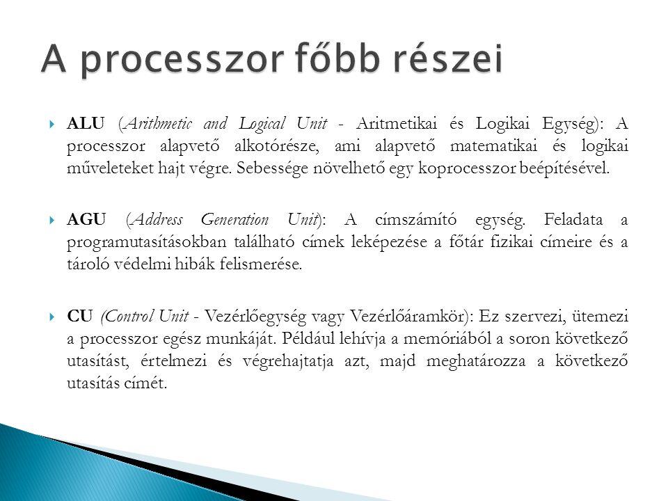  ALU (Arithmetic and Logical Unit - Aritmetikai és Logikai Egység): A processzor alapvető alkotórésze, ami alapvető matematikai és logikai műveleteke