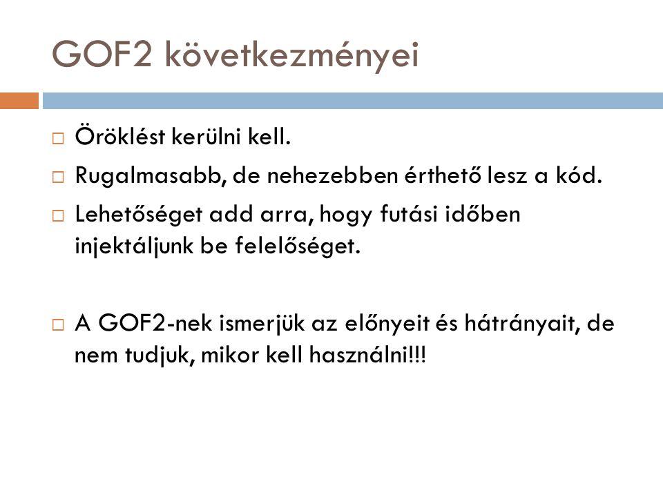 GOF2 következményei  Öröklést kerülni kell.  Rugalmasabb, de nehezebben érthető lesz a kód.  Lehetőséget add arra, hogy futási időben injektáljunk