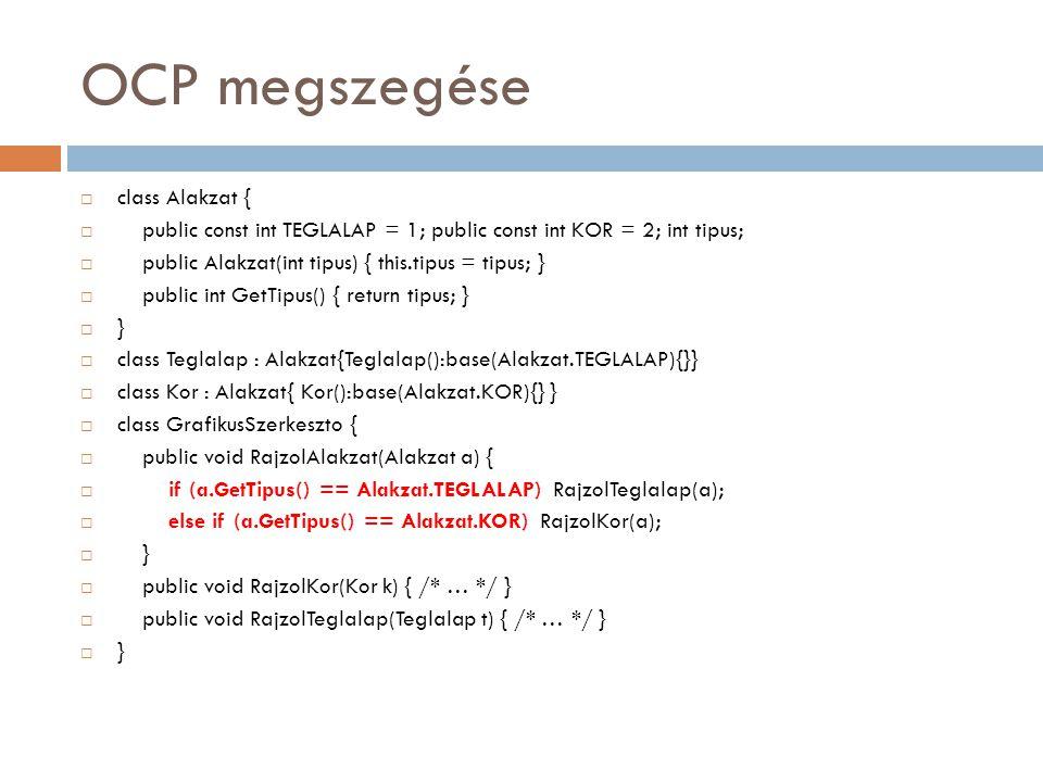 OCP megszegése  class Alakzat {  public const int TEGLALAP = 1; public const int KOR = 2; int tipus;  public Alakzat(int tipus) { this.tipus = tipu