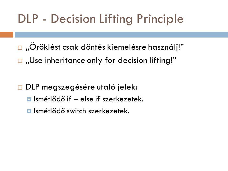 """DLP - Decision Lifting Principle  """"Öröklést csak döntés kiemelésre használj!""""  """"Use inheritance only for decision lifting!""""  DLP megszegésére utaló"""