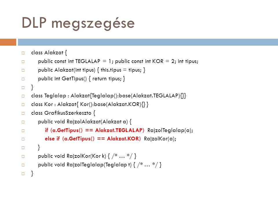 DLP betartása  abstract class Alakzat{ public abstract void Rajzol(); }  class Teglalap : Alakzat {  public override void Rajzol() { /* téglalapot rajzol */ }  }  class Kor : Alakzat {  public override void Rajzol() { /*kört rajzol */ }  }  class GrafikusSzerkeszto {  public void RajzolAlakzat(Alakzat a) { a.Rajzol(); }  }  class Program {  public static void Main(String[] args) {  Alakzat alak = new Kor();  (new GrafikusSzerkeszto ()).