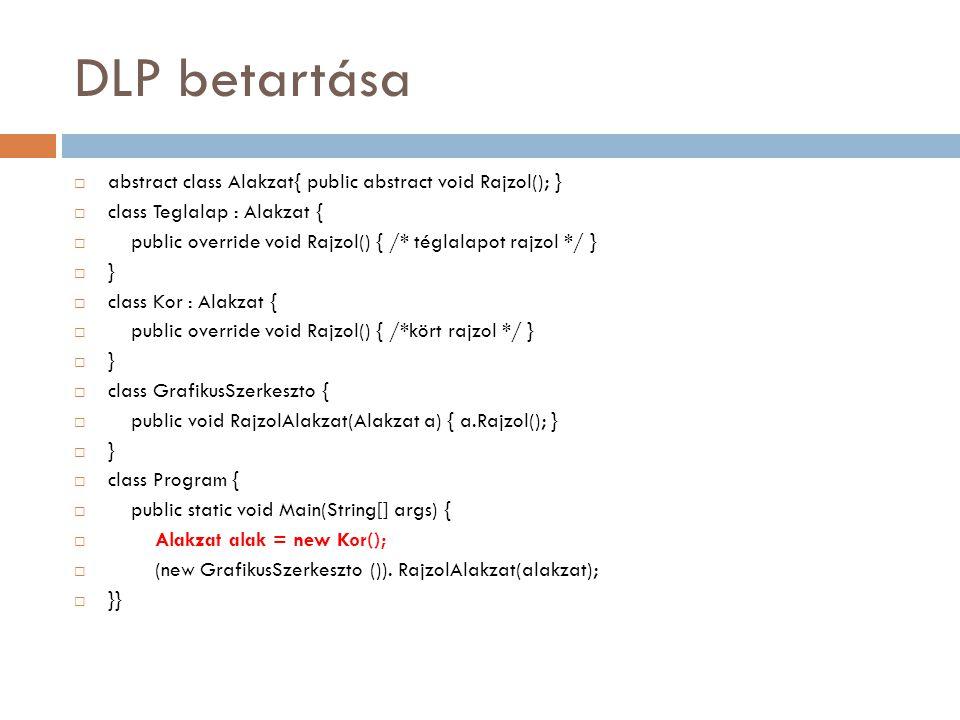DLP betartása  abstract class Alakzat{ public abstract void Rajzol(); }  class Teglalap : Alakzat {  public override void Rajzol() { /* téglalapot