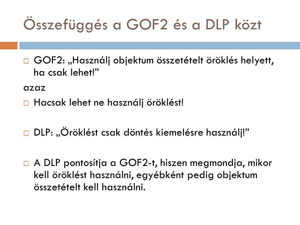 """Összefüggés a GOF2 és a DLP közt  GOF2: """"Használj objektum összetételt öröklés helyett, ha csak lehet!"""" azaz  Hacsak lehet ne használj öröklést!  D"""