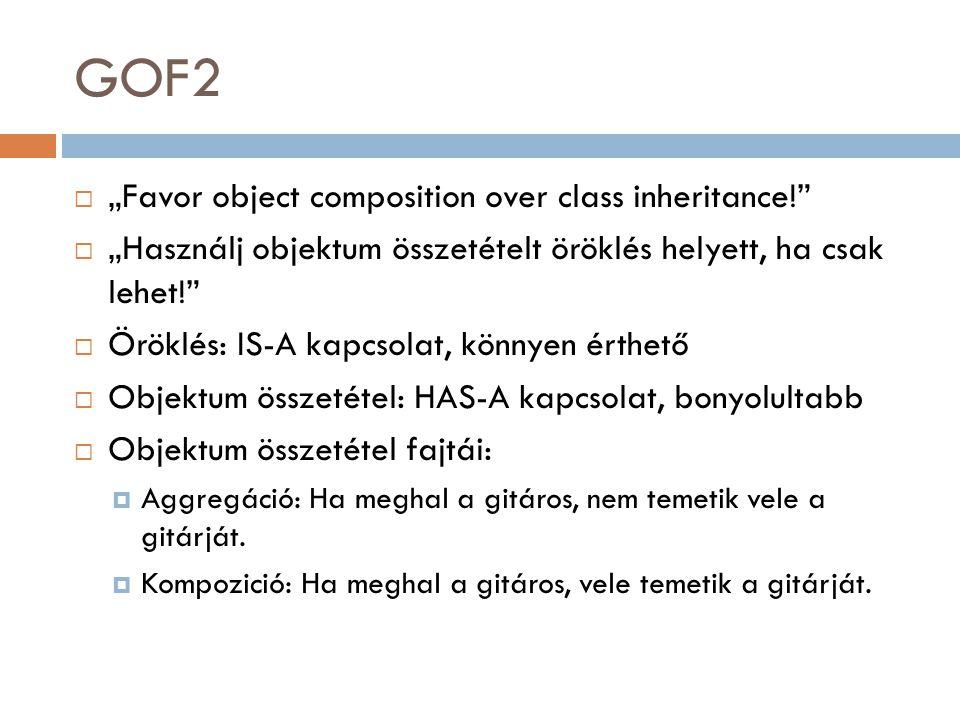 Az öröklődés mindig kiváltható objektum összetétellel class A { public void m1() { Console.Write( hello ); } class B : A { public void m2() { m1(); } class Program { static void Main(string[] a) { B b = new B(); b.m2(); } class A { public void m1() { Console.Write( hello ); } class B { A a = new A(); public void m2() { a.m1(); } class Program { static void Main(string[] a) { B b = new B(); b.m2(); }