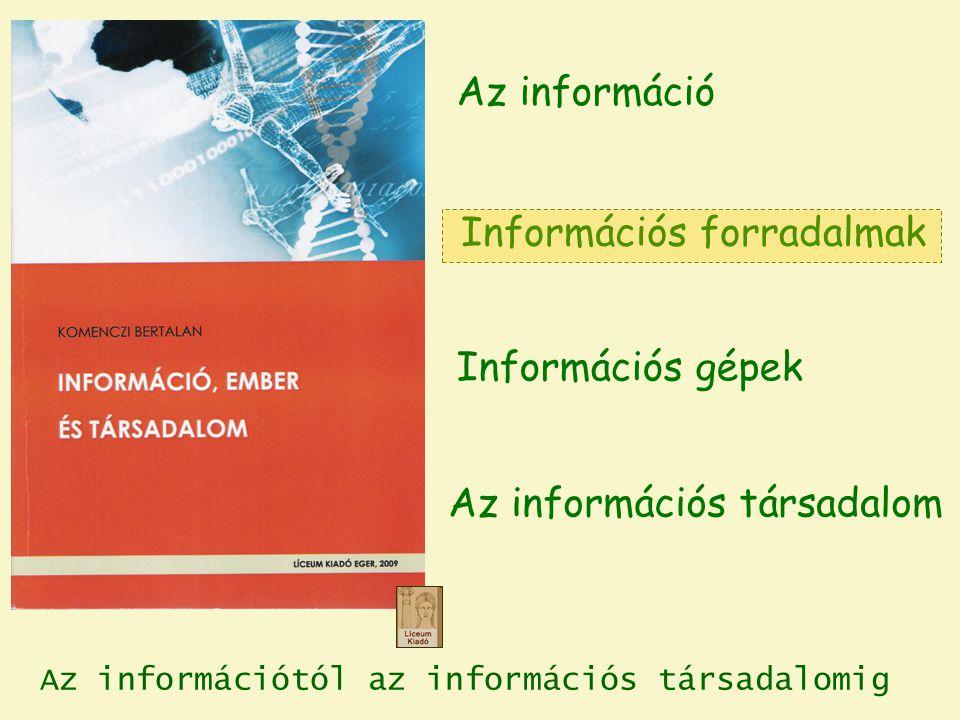 Az információtól az információs társadalomig Információs forradalmak Az információs társadalom Az információ Információs gépek