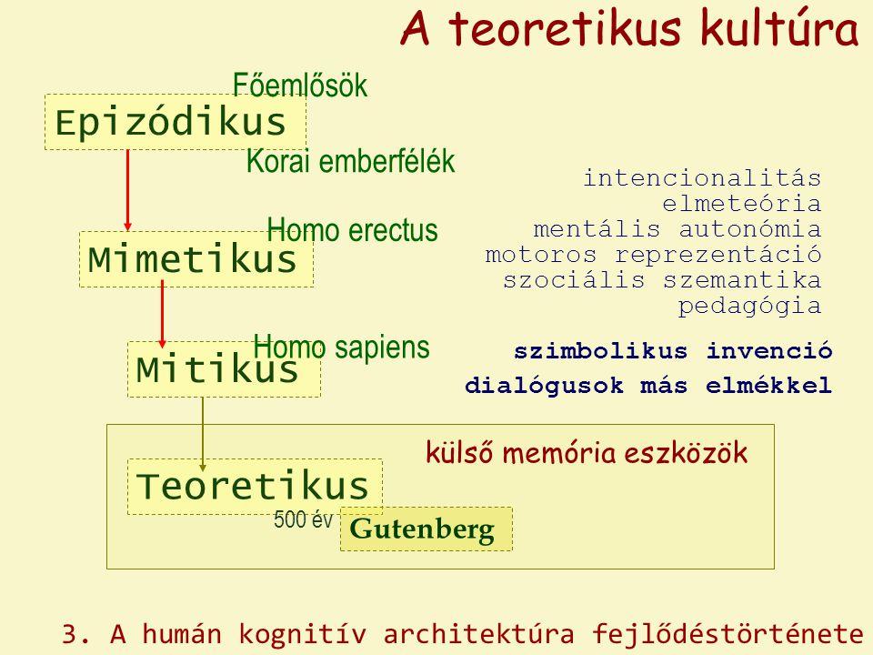 Epizódikus Mimetikus Homo erectus Főemlősök Korai emberfélék A teoretikus kultúra Mitikus Homo sapiens Teoretikus külső memória eszközök szimbolikus i