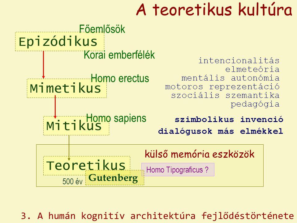 Epizódikus Mimetikus Homo erectus Főemlősök Korai emberfélék A teoretikus kultúra Mitikus Homo sapiens Teoretikus Homo Tipograficus ? külső memória es